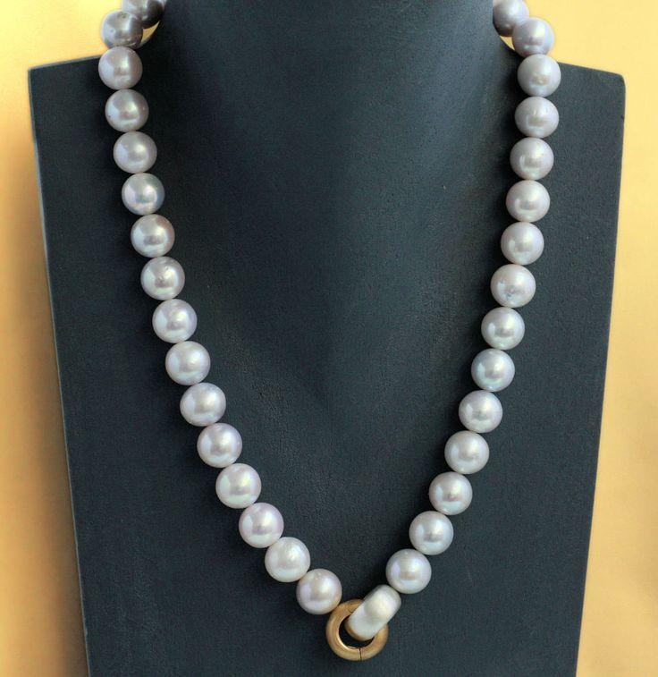 Echte Perlenkette weiß gold silber 10-11 mm Zuchtperlenkette Silber 925