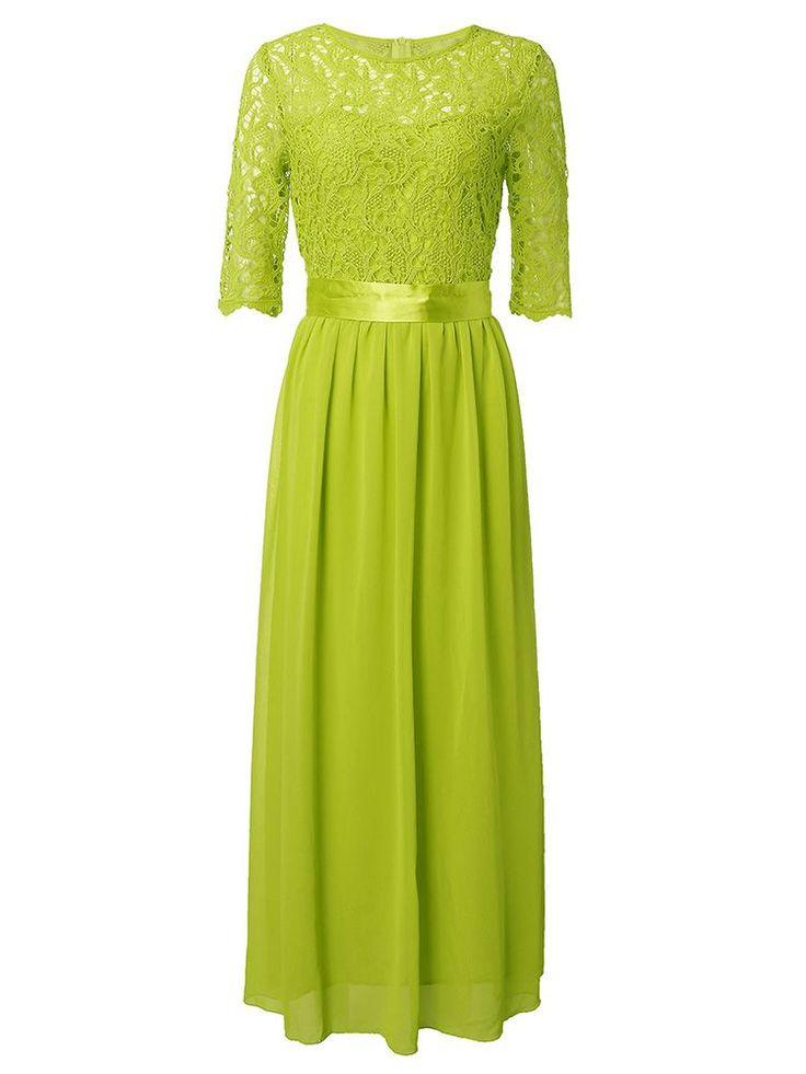 LA SAVVEON - Crochet Lace Chiffon Maxi Dress