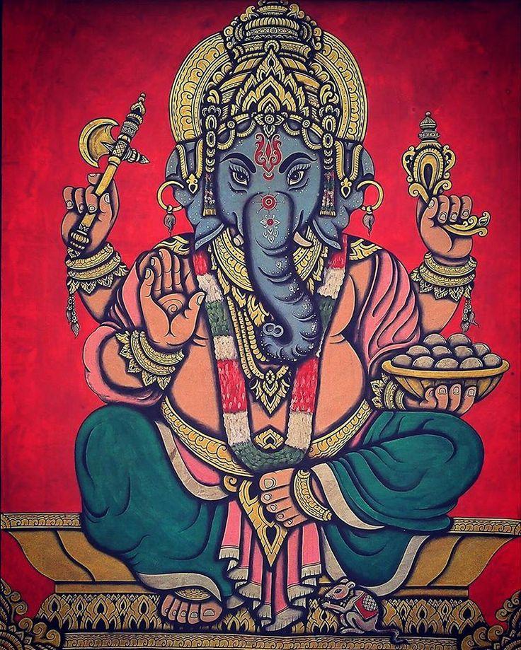 Ganesha hindu god acrylic color painting #ganesha #ganesh #ganeshapainting #hindugodpainting #paintingbyhand #painting #artpainting #thaiartpainting #srichum #artgallery #sukhothai