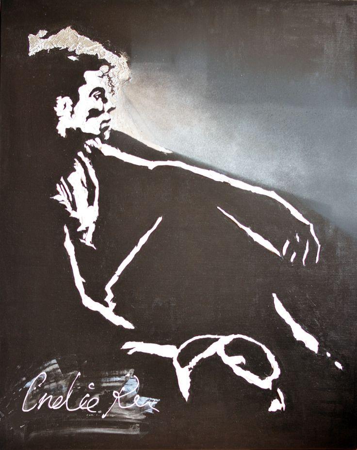 Acrylic painting for sale figurative art portrait Michael Jackson black and white