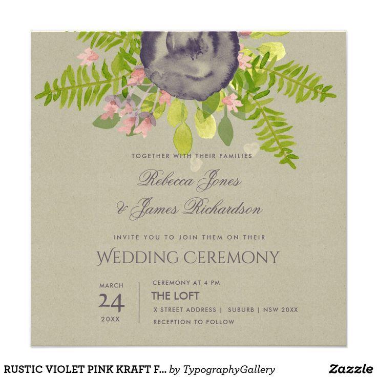 RUSTIC VIOLET PINK KRAFT FLOWERS & FERNS WEDDING