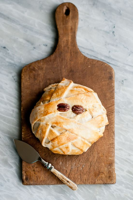 make a mummy baked brie for halloween - Great Halloween Appetizers