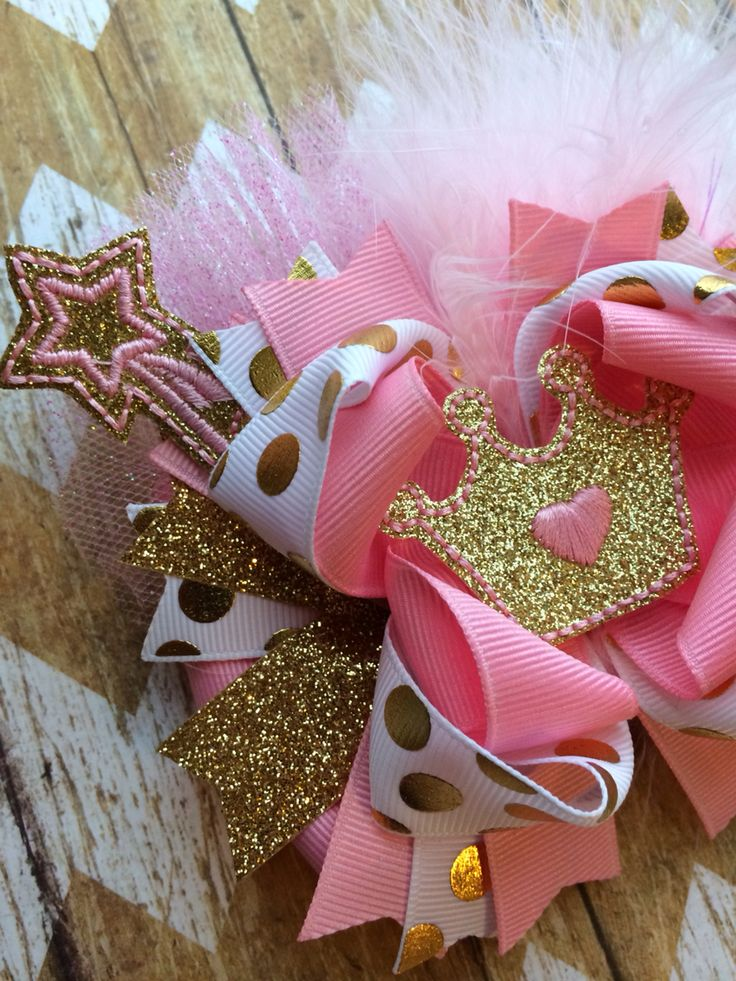 Princess Gold and pink hair bow.