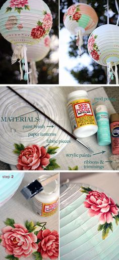 Floral Paper Lanterns   15 DIY Outdoor Wedding Ideas on a Budget
