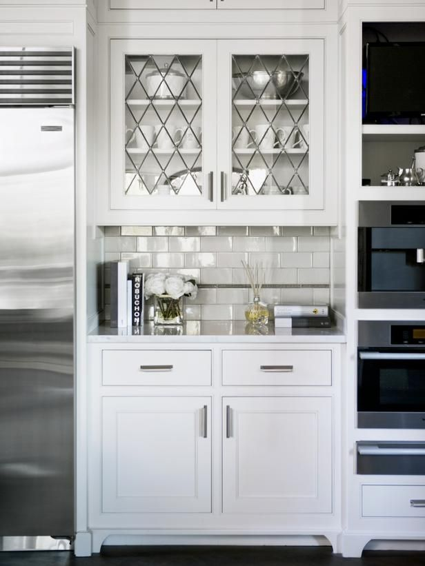 Wonderful Kitchen Cabinet Door Glass in Clean Kitchen Shade : White Kitchen Cabinets Doors Glass Laminate Backwall Silver Refrigerator