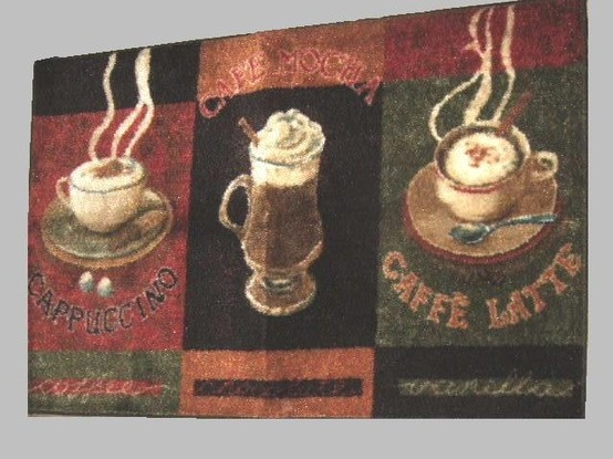 This Colorful Coffee Themed Kitchen Rug Features Blocks Of Coffee Cups With  The Words Cappuccino,
