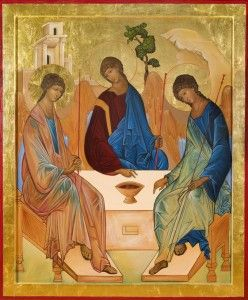 """The Holy Trinity The name """"Troitsa"""" is the Russian name given to his icon by the most famous Russian iconographer, St. Andrei Rublev, who lived from about 1370 until 1430 C.E.; Rublev was a professed Orthodox monk living in St. Sergius Monastery, Moscow."""