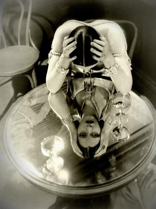 Kay Francis, Beautiful reflection 1934.  At first glance this photo tricks your eye, interesting.