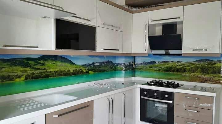 glasrückwand gelbe blüten küche grün frisch spüle herd Küche - fototapete für küchenrückwand
