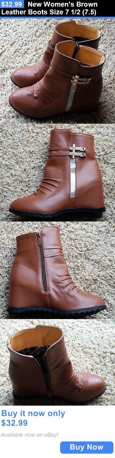 Women Shoes: New Womens Brown Leather Boots Size 7 1/2 (7.5) BUY IT NOW ONLY: $32.99