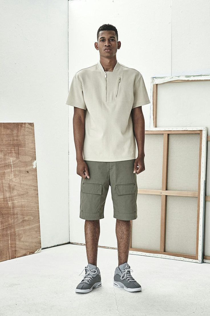 BERKHAN 2016 spring summer season double zip shirt . khaki cargo pants AND JORDAN basketball mid  shoes  벌칸 봄 여름 시즌 셔츠 카고 팬츠 조던 농구화