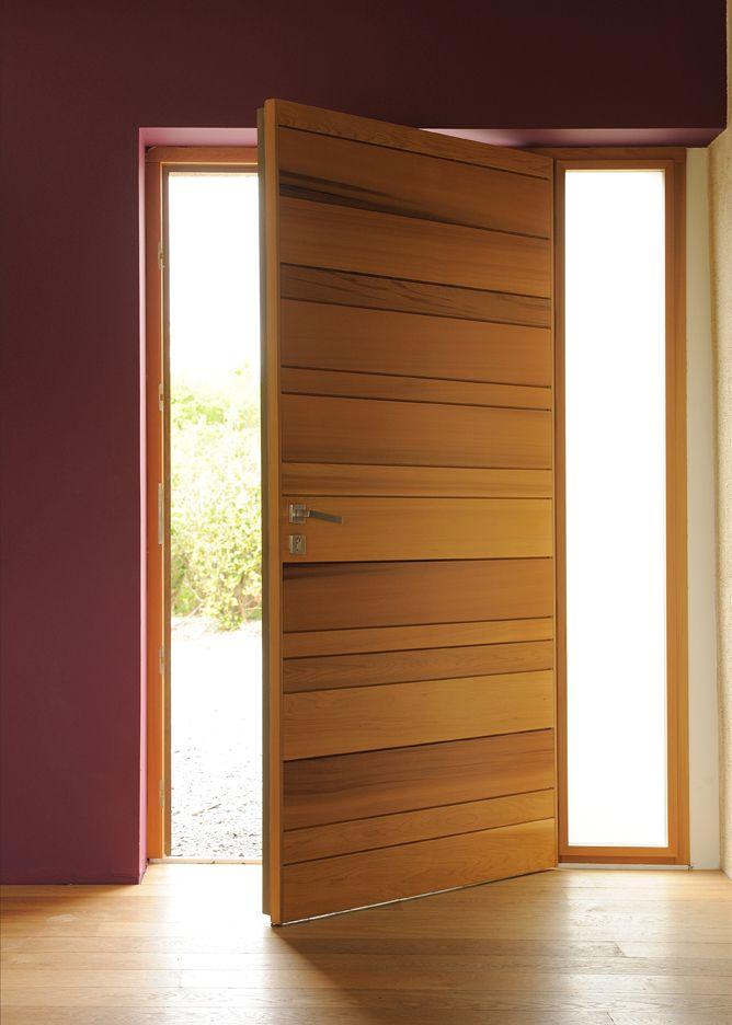 Porte d'entrée Zilten modèle Nativ 2, red cedar, vue intérieure