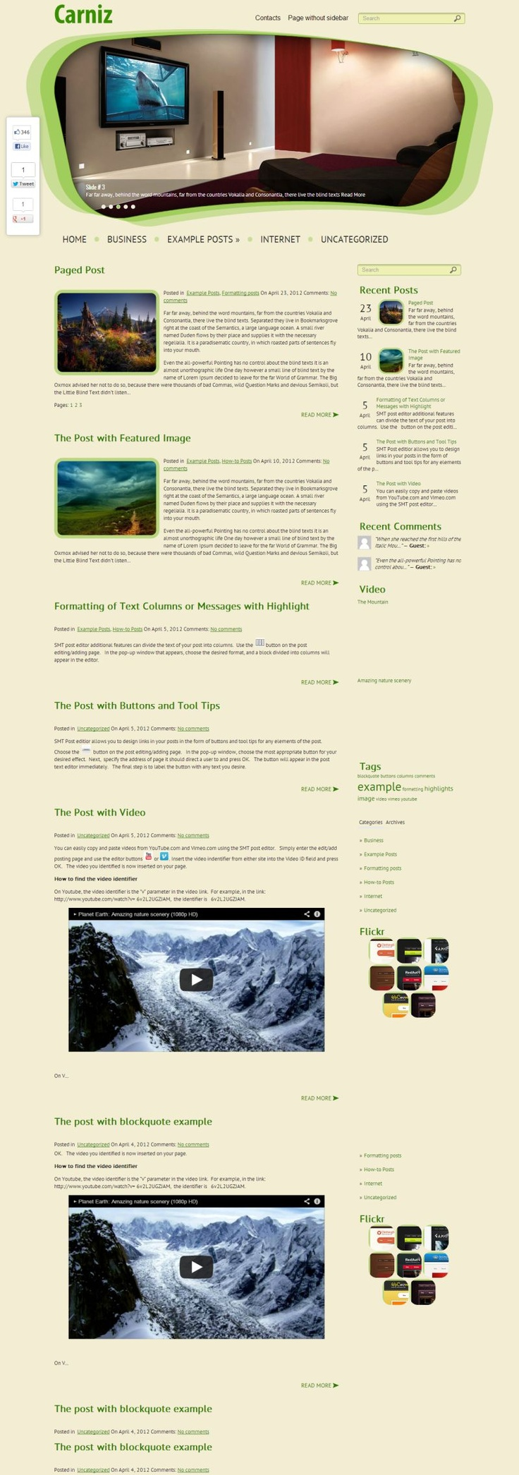 """""""Carniz"""" is one of the best stylish and #free clean themes for interior #WordPress blog. Good-looking design."""