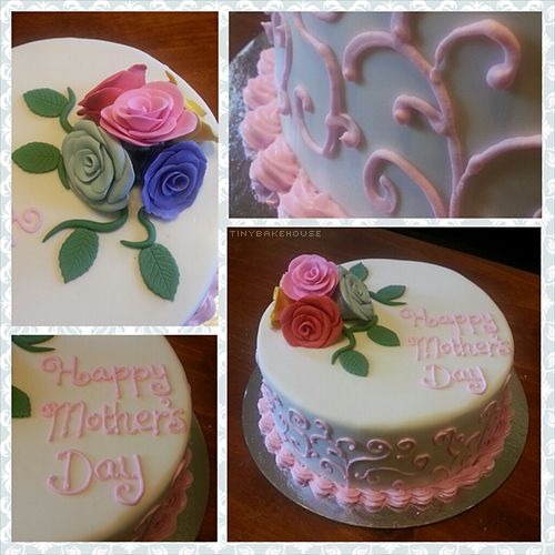 Mother's Day Cake made of mud chocolate. The writing and swirls are made with royal icing while the roses and vines are made out of fondant.