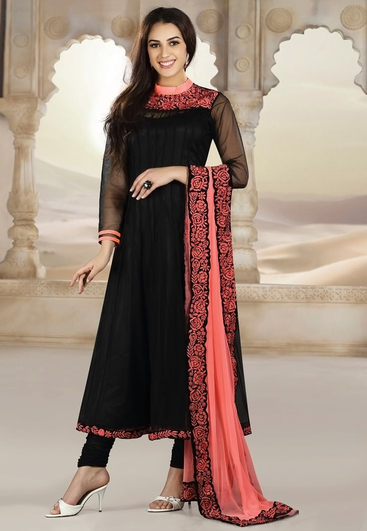Black & Peach Faux Georgette Churidar Kameez with contrast dupatta..try this combo with a peach empire waist body