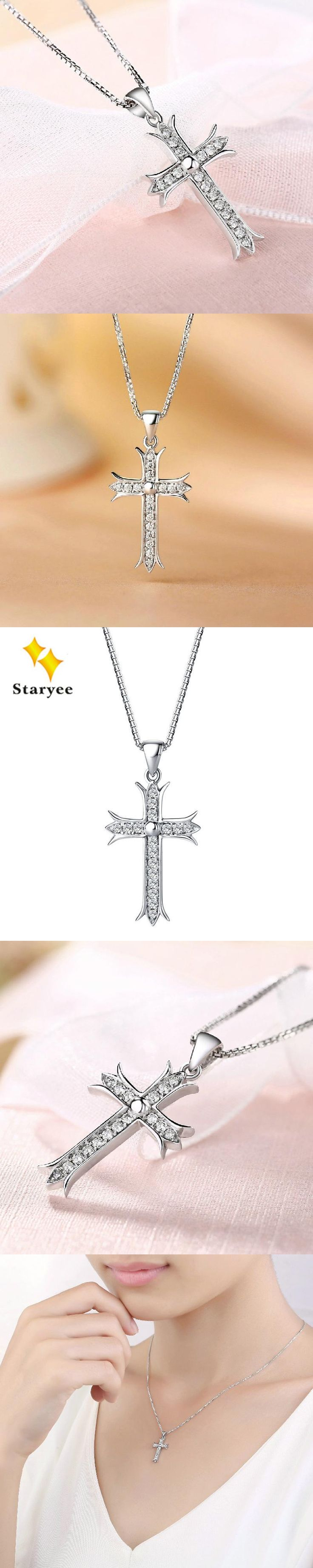 Elegant Simulated Diamond Cross Box Chain Pendant Necklaces Pure 18K 750 Solid White Gold Fine Jewelry For Women Free Engraving
