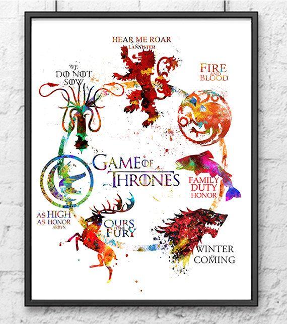Spiel der Throne Aquarellbilder Grafik Spiel der von gingerkidsart