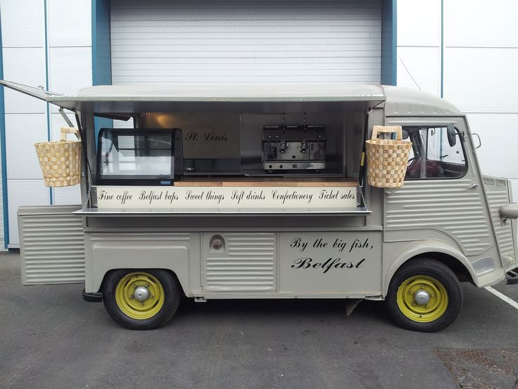 Cafe St Louis, Belfast. Citroen Truck fitted out by Dog eat Dog Inc. Love the baskets & cursive typography.