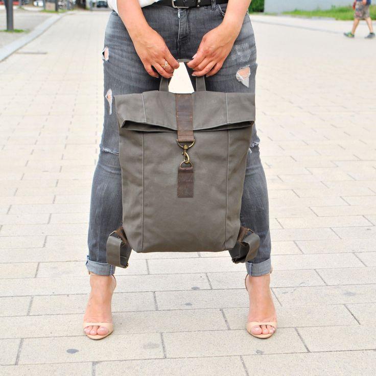 Khaki Canvas Leder Rucksack, wasserabweisend, große Tasche, Tasche für Damen, Herren Tasche, Laptop Tasche, Lederdetails, Segeltuch, Unisex, Uni Tasche, Alltagstasche Der Rucksack ist sportlich dezent cool und lässig. Die Tasche ist aus robustem Segeltuch und Fettleder. Das Material ist
