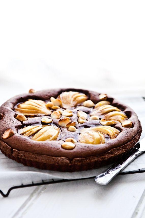Chocolate, Pear and Macadamia Tar