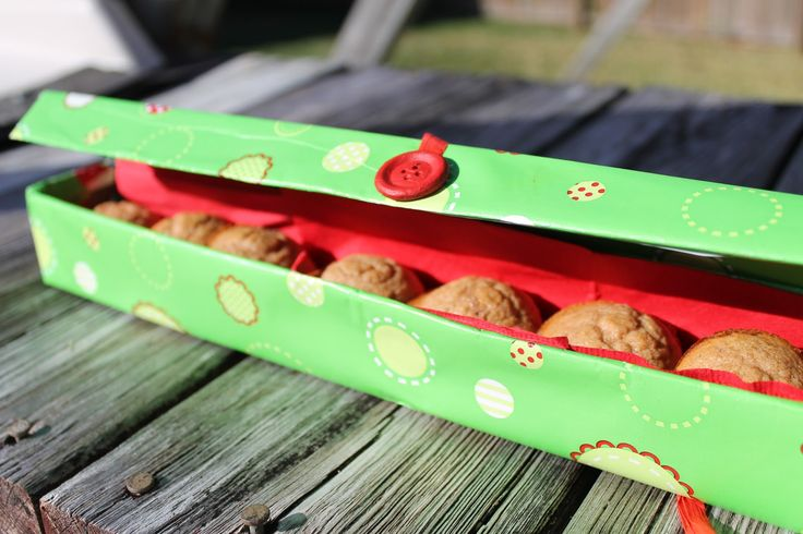 Cover an empty foil box and use for gifting cookies or mini muffins.