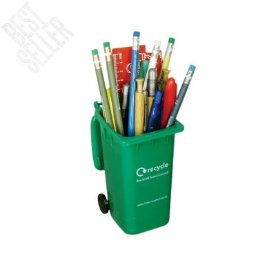 Wheelie Bin Pen Pot made from Recycled Plastic. Dimensions: 100 x 140 x 75mm. Print Area: Front; 70 x 35mm - Side; 70 x 40mm - Top; 25 x 25mm. Minimum Qty: 250 Pieces.