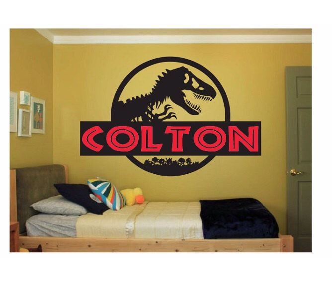 Dinosaur Name Wall Decal Sticker Large kids bedroom big fun Jurassic Park kid boy or girl name large script disney pink play big any letters by ColtonsPlace on Etsy https://www.etsy.com/listing/208379957/dinosaur-name-wall-decal-sticker-large