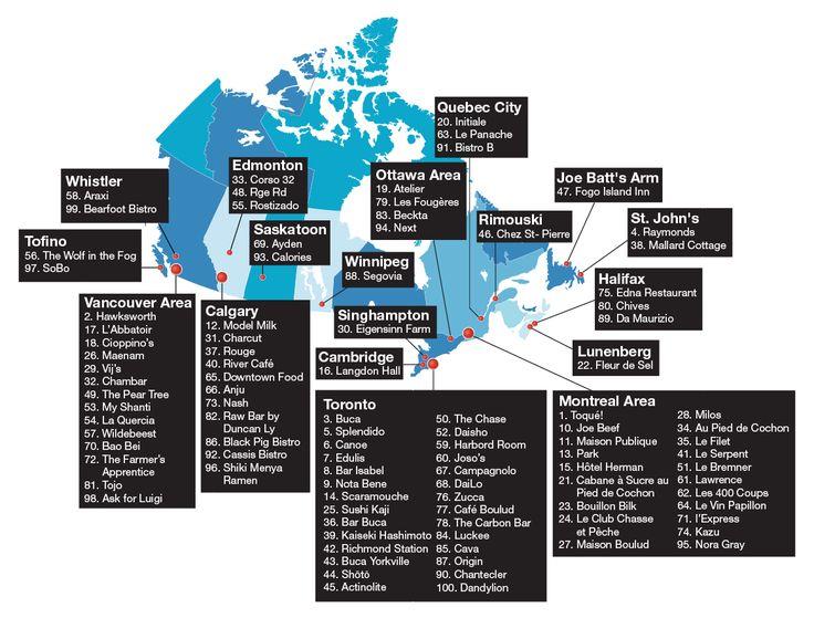 Canada's 100 Best Restaurants Map
