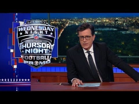 Late Show's Wednesday Night Thursday Night Football Promo | Thursday is the ideal night to watch football, because when you wake up the next day, it's Friday. With Sunday Night Football, you wake up on Monday (boo).