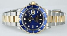 ROLEX Mens 40mm 18kt Yellow Gold & Stainless Submariner Blue 16613 - SANT BLANC