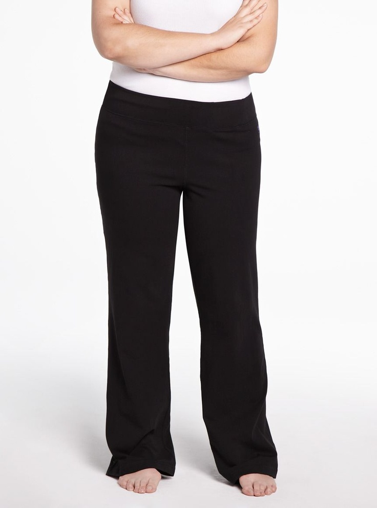 Plus Size Yoga Pants. Whether you're embracing the downward dog pose or simply hanging around the house, a pair of plus size yoga pants will come in handy. Explore our selection to find a variety of lengths, colors and prints to match your style. Work it Out Hit the gym or your favorite workout class in a pair of plus size yoga pants.