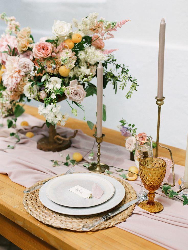 Spanish style wedding shoopastel wedding tablesetting + taper candles | photo by Elena Pavlova | Fab Mood - UK wedding blog #styledshoot