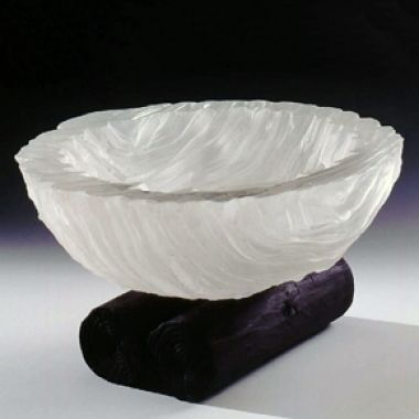 Colin Reid: A Cast Glass Bowl on a wooden stand, 1999