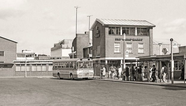 The old bus station with The King Harry at the back!