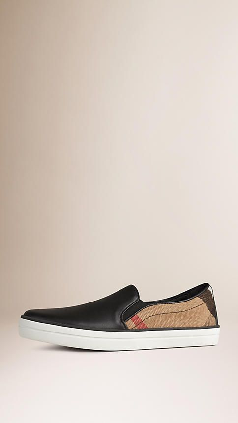 Burberry Slip-on trainers in check canvas with a leather panel at the front and heel. Discover the shoes collection at Burberry.com