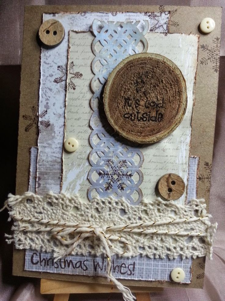 K&Company papers on kraft, Stampin Up twine, some buttons and lace scrap card