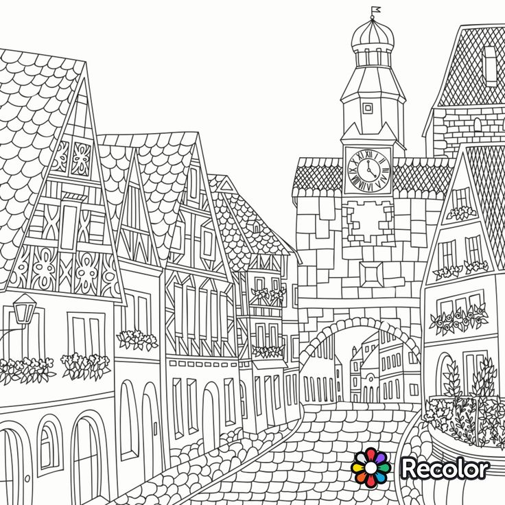 building coloring pages for adults - photo#15