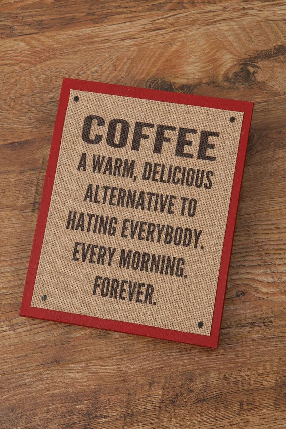 BURLAP COFFEE SIGN - Christmas Gift- wood & chalk paint - 10x10  painted sign - Home Decor - wall hanging - Red wood panel sign with burlap
