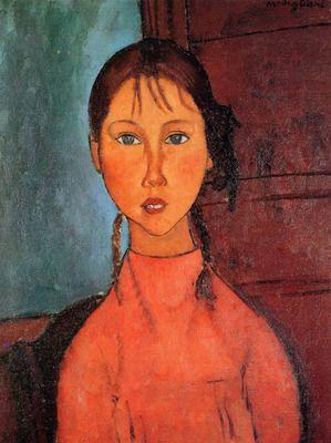 Girl with plaits Modigliani. Order from DEKORAMI as a poster, canvas print, mural. Zamów jako obraz na płótnie, plakat lub fototapetę na DEKORAMI.pl.