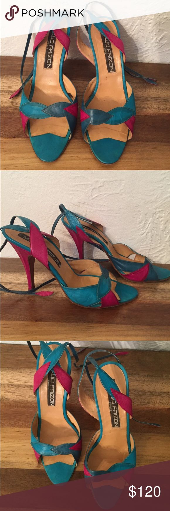 Vintage Maud Frizon turquoise & pink heels size 8 Multi color vintage heels size 8 made in France Maud Frizon Shoes Heels