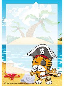 papier lettre pour enfant avec le dessin d un petit tigre pirate imprimer cartes papier. Black Bedroom Furniture Sets. Home Design Ideas