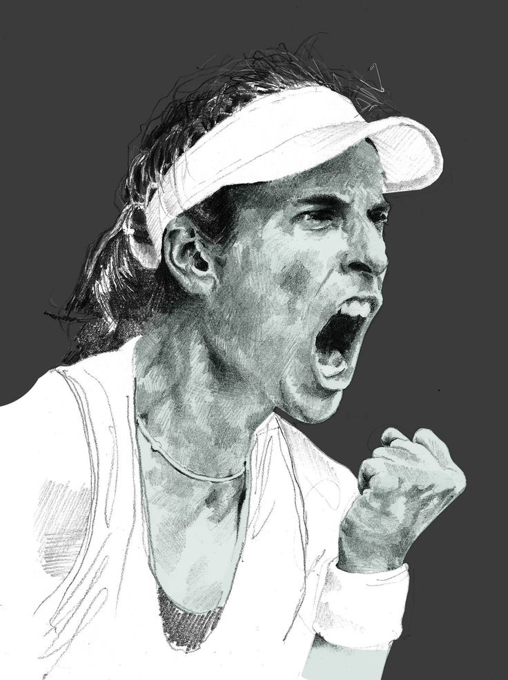Illustrated portrait of Jo Konta for PlayBrave by J C Lear @ Bare Collective