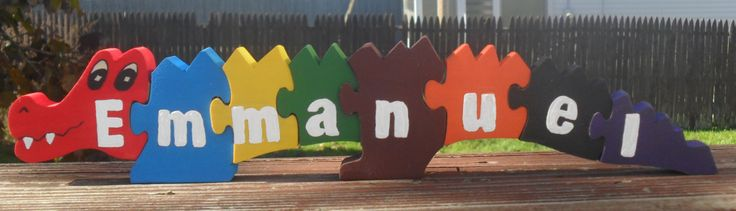 alligator puzzle, name puzzle, wooden name puzzle, personalized puzzle, first birthday gift, child's gift, non toxic, preschool puzzle, by WoodnThingsNY12534 on Etsy
