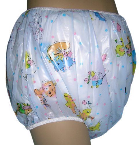 Baby Pants Blue Carousel Print Adult Pullon Plastic Pants