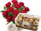 12 Red Rose Bouquet & 16 Pieces Ferrero Rocher available at : www.giftschennai.com/Birthday-Gifts-to-Chennai.php