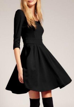 Scoop neck, 3/4 sleeve, flare skirt.: Dresses Black, Solid Colors, Fashion Dresses, Style, Half Sleeve, Shorts Dresses, Holidays Dresses, Little Black Dresses, Sleeve Dresses