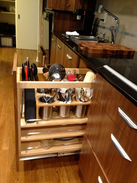 Vertical Utensil Storage In Pullout Kitchen Cabinet