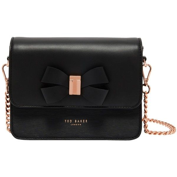Ted Baker Bow Detail Leather Across Body Bag (550 PEN) ❤ liked on Polyvore featuring bags, handbags, shoulder bags, leather cross body purse, man leather shoulder bag, shoulder handbags, handbag purse and hand bags