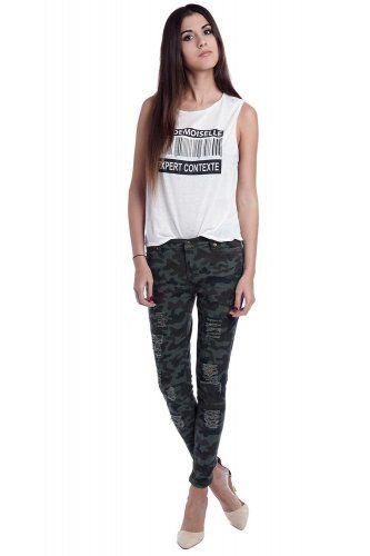 Broek met camouflage print bij Fashion & Trends in online winkelstad Stad.nl.