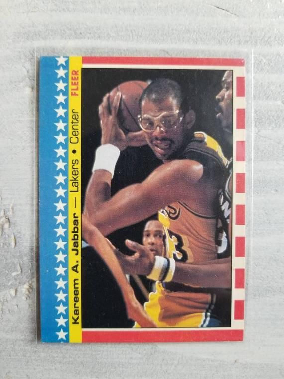 Check out this item in my Etsy shop www.etsy.com/…  1986 Kareem Abdul Jabbar Vintage Basketball Card – Los Angeles Lakers Greats, Laker Legends, LA …